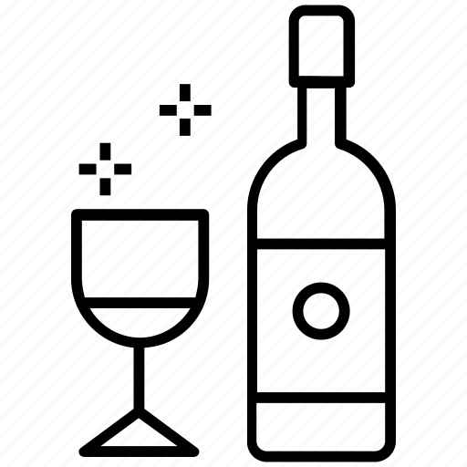 alcohol, beverages, drinking, wine, wine bottle, wine glass icon