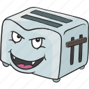 cartoon, emoji, face, smiley, toaster icon