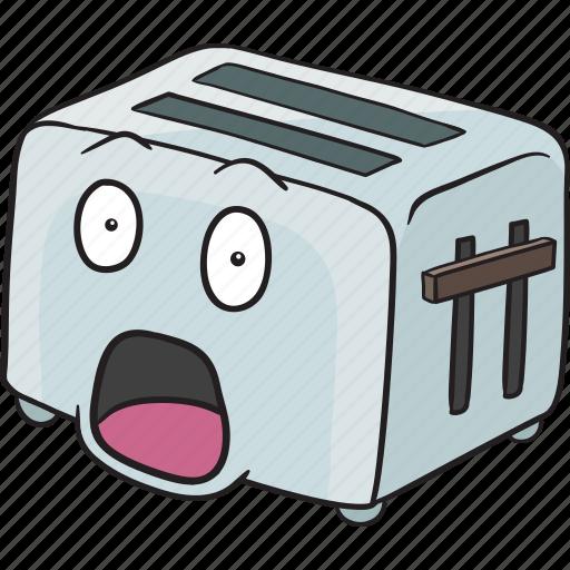 cartoon, emoji, face, smiley, toaster icon