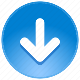 arrow, back, direction, down, download, location, navigation, pointer icon