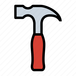 carpentry, construction, hammer, nail, wood working icon