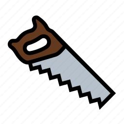 board, carpentry, cut, hand saw, tools, wood working icon