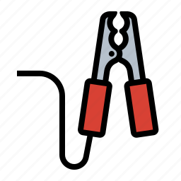 automotive, battery, dead battery, jumper cables, mechanic, roadside assistance, tools icon