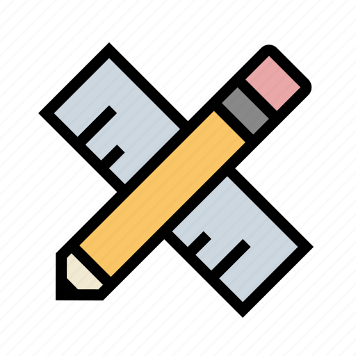 design, drafting, measure, pencil, ruler, tools icon