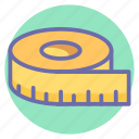 centimeter, inch tape, measuring tape, scale, tailor, tape, tools icon