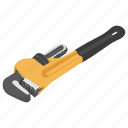 adjustable wrench, monkey wrench, pipe wrench, plumbing instrument, repairing concept icon