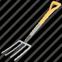 digging fork, garden fork, gardening tool, rake, spading fork icon