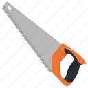 bow saw, carpentry tool, crosscut saw, hand saw, wood cutter icon