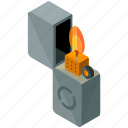 equipment, fire, flame, lighter, tools, zippo icon
