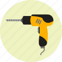 construction, drill, equipment, hand, machine, preferences, tools icon