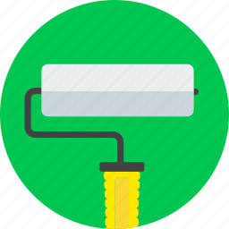 brush, construction, paint, painting, roller, tools, working icon