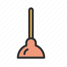 bathroom, handle, plunger, rubber, toilet, water, wood icon