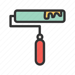 color, decorating, home, paint, red, roller, wall icon