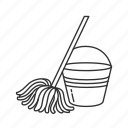 janitor, mop, pail, pail and mop icon