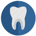 health, round, stomatology, tooth, white icon