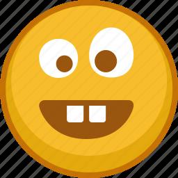 crazy, emoji, emoticon, emoticons, emotion, smile, teeth icon