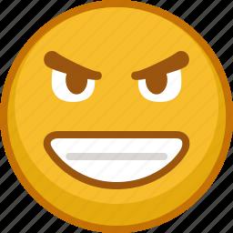 emoji, emoticon, emoticons, evil, expression, grin, smile icon