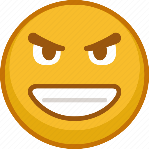 emoji, emoticon, emoticons, evil, expression, grin, smile icon