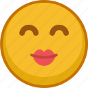 emoji, emoticon, expression, kiss, love, smile, valentine icon
