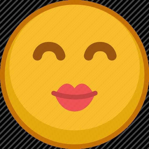 emoji, emoticon, expression, kiss, love, smile, valentine icon