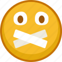 emoji, emoticon, emoticons, silence, smile, taped, zipped icon