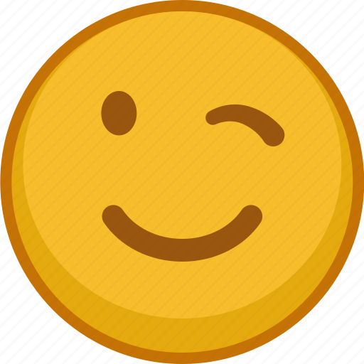 emoji, emoticon, emoticons, emotion, expression, smile, wink icon