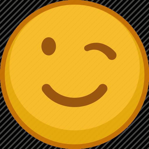emoji, emoticon, emoticons, emotion, expression, smile, wink icon