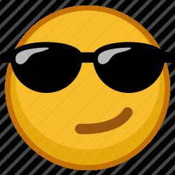 emoji, emoticon, emoticons, emotion, expression, glasses icon