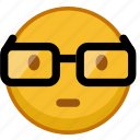 emoji, emoticon, emoticons, glasses, mood, nerd, smile icon