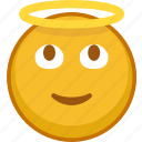 emoji, emoticon, emotion, expression, saint, smile, smiley icon