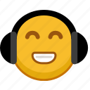 audio, emoji, emoticon, headphones, music, smile, sound icon