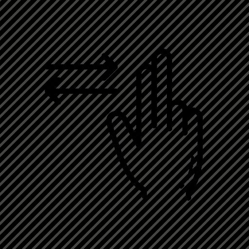 finger, horizontal, horizontal scroll, scroll icon