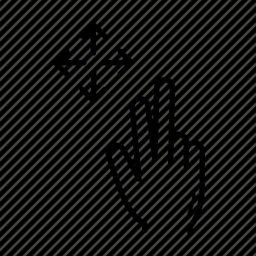 drag, drag flick, expand, finger icon