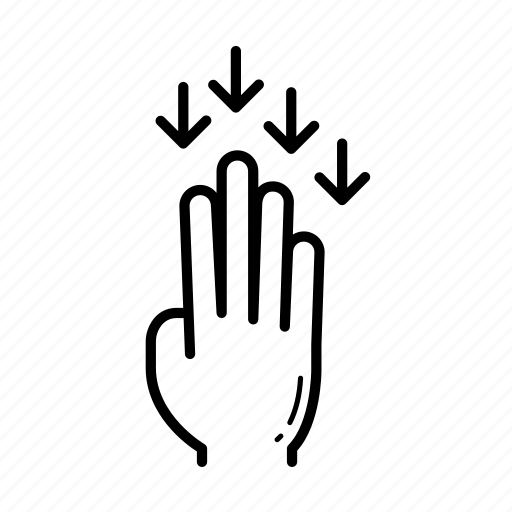 down, flick, flick down, touch gesture icon