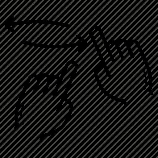 hold, horizontal scroll, horizontal spread icon