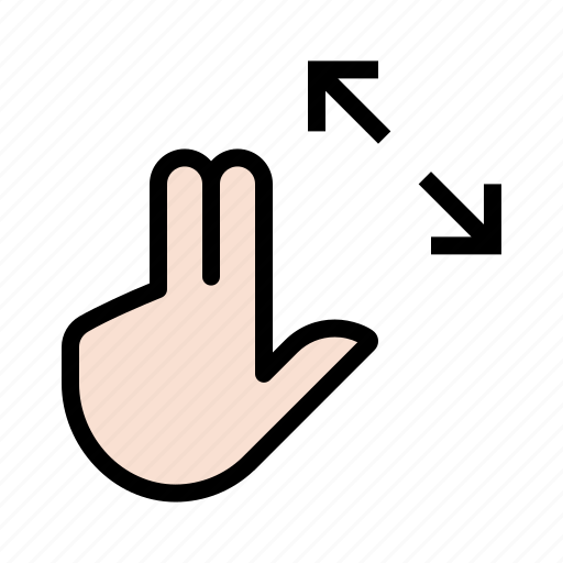 expand, gesture, hand, three finger, touch, zoom icon