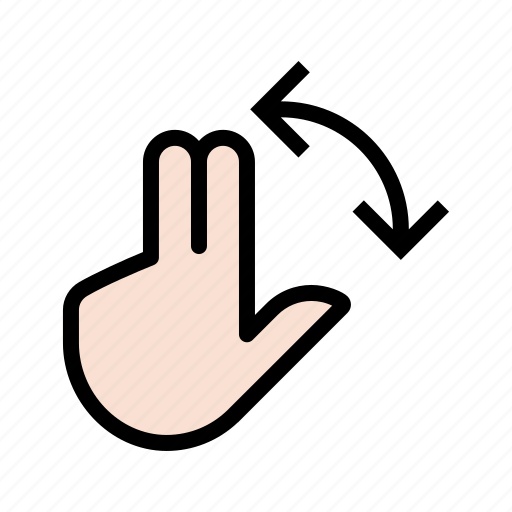 gesture, hand, rotate, three finger, three finger rotate, touch icon