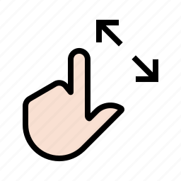 expand, extend, gesture, hand, touch, zoom icon