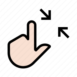 gesture, hand, pinch, squeeze, touch, two finger icon