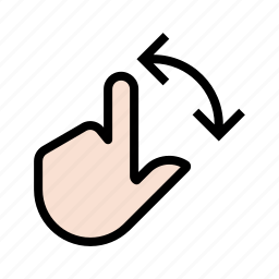 gesture, hand, rotate, touch, two finger icon