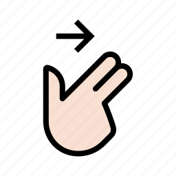 gesture, hand, swipe, swipe right, touch, two finger icon
