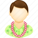 flowers, hawaiian shirt, man, tourism, tourist, vacation icon