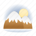 destination, mountains, snow, tourism, vacation, winter icon