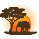africa, destination, elephant, safari, tourism, travel, vacation icon