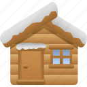 cabin, log cabin, snow, tourism, vacation, winter icon