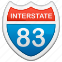 highway, interstate, road sign, sign, tourism, travel icon
