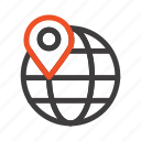 globe, internet, location, map icon