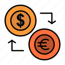 coins, currency, dollar, euro, exchange, finance, financial, money icon