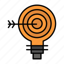 bulb, darts, goal, idea, solution, target