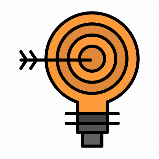 bulb, darts, goal, idea, solution, target icon